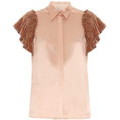 Hillier Bartley Smocked velvet-sleeved silk shirt (4.745 RON) ❤ liked on Polyvore featuring tops, velvet shirt, smocked top, shirt top, velvet top and silk shirt