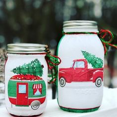 Excited to share this item from my shop: Red truck and red camper lighted Christmas jar set, lighted jars, lighted bottles, jar lights, Christmas decor Christmas Mason Jars, Red Christmas, Mason Jar Snowman, Christmas Ideas, Xmas, Christmas Truck, Etsy Christmas, Christmas Candles, Rustic Christmas