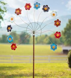 Oversized Colorful #Flowers Metal #Wind #Spinner