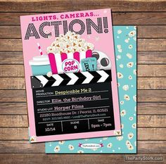 Movie Party Invitation | Printable Girls Movie Invite | Movie Ticket Birthday Invitations | Black Blue Pink | Matching Decorations Available