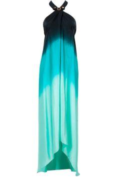 Seychelles and black ombre silk sarong dress by SHIVAN AND NARRESH. Shop now at perniaspopupshop.com