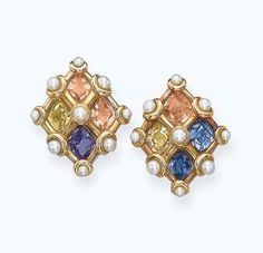 A PAIR OF MULTI-COLOURED SAPPHIRES AND NATURAL PEARL EAR CLIPS, BY JAR