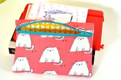 Pink Bag Cat Zipper Pouch The Dancing Cat by jamieshelman on Etsy, $20.00