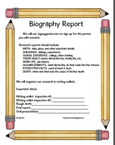 FREE!  Here's a new way to organize your next biography project. Directions are included for making writing wallets, labels for research topics, and report guidelines.