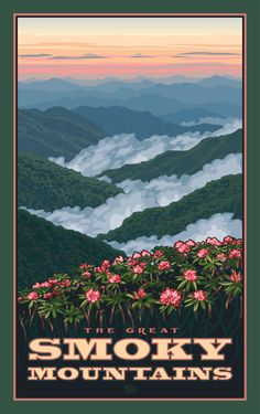 Northwest Art Mall Great Smoky Mountains Rhododendrons in Spring North Carolina Wall Art by Paul Leighton, 11 by 17-Inch