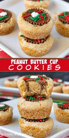 Peanut Butter Cup Cookies - these easy peanut butter cookies are stuffed with a peanut butter cup candy and topped with sprinkles. Great recipe to make for holiday parties and cookie exchanges! #cookies #peanutbuttercups #holiday #christmas
