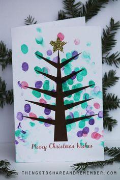 Printable Fingerprint Christmas Tree Card