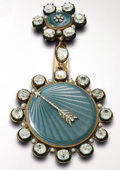 """A rare """"tact"""" medallion watch, in gold, guilloché and enamelled, set with 17 carats of diamonds. Inscribed with the signature """"Le Roy – Watchmaker to HM the King and R. Madame, Paris"""", no. 3191, circa 1810. __ http://www.montres-leroy.com/en/lleroy/history"""