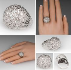 Vintage 3 Total Carat Diamond Dome Cocktail Ring 14K