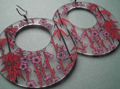 floral passionflower earrings - other shrink plastic jewelry too.