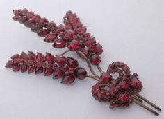 Large Glorious Antique Victorian Bohemian Garnet Sheaf of Wheat Brooch | eBay