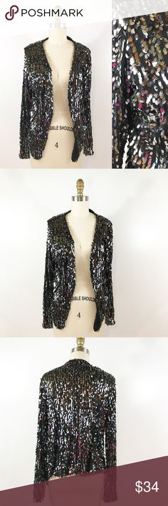 """⭐️ NEW ARRIVAL Inc. Black Sequin Blazer Jacket This black Sequin Blazer Jacket is super glam. Easy to wear with the basics in your closet, you'll want to pair this with a pair of black Moto jeans and a black tank top. Marked size M. Measures 25""""in front and 21"""" In back. Excellent condition. INC International Concepts Jackets & Coats Blazers"""