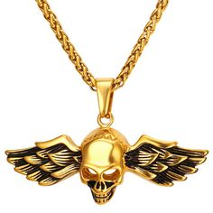 Hiphop Style Skeleton With Wing Necklaces & Pendants Women Men Jewelry