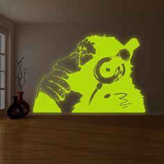 Banksy Glowing Vinyl Wall Decal Monkey With Headphones / Glow in Dark Chimp Listening to Music Earphones / Luminescent Art Graffiti Sticker
