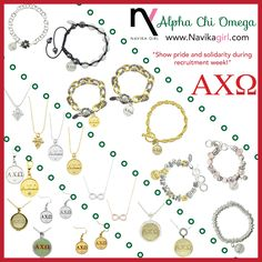 Alpha Chi Omega Jewelry  Sisters of Alpha Chi Omega sorority! Check out the Navika girl sisters forever collection at www.navikagirl.com   #alphachiomega #AXO #alphachi #achio #sororityjewelry #sistersforever #fashionjewelry #bling #greeklife #gogreek #panhellenic #recruitment #navikagirl #loveandinspiration