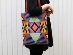 Leather Tote / Laptop bag - Tribal Geometric No.2 by tovicorrie on Etsy (null)