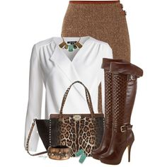 A fashion look from November 2014 featuring NIC+ZOE tops, Lauren Ralph Lauren skirts and Valentino tote bags. Browse and shop related looks. Office Fashion, Business Fashion, Work Fashion, Fashion Outfits, Womens Fashion, Fashion Trends, Fall Winter Outfits, Autumn Winter Fashion, Classy Outfits