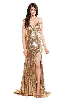 A&N Curve - Gold Kara Sequinned Gown with Slit and Tie-Up Back Designer Formal Dresses, Formal Dresses For Teens, Gold Gown, Sequin Gown, Short Sparkly Dresses, Short Dresses, Curve Prom Dresses, Gown With Slit, Golden Dress
