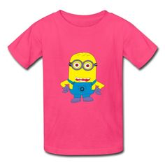 Small yellow people hot pink 7600b t shirt for kid shop funny clothing