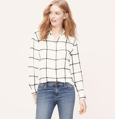Windowpane Utility Blouse {I saw a woman at the airport wearing this shirt with the button up window pane skirt.  She was wearing a black cardigan buttoned up over it, black tights, black heels & looked so cute! Plus you could wear the items by themselves}