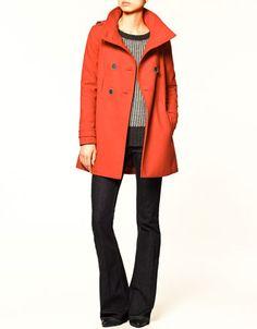 zara double-breasted coat-love that coat My Wardrobe, Wardrobe Capsule, Wardrobe Ideas, Zara Official Website, Cute Jackets, Double Breasted Coat, Pretty Outfits, Coats For Women, Red Coats