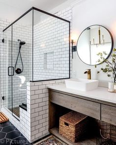 44 Marvelous Farmhouse Master Bathroom Decor Ideas and Remodel - Home Design Inspiration Master Bath Remodel, Master Bathroom, Modern Bathroom, Bathroom Vanities, Quirky Bathroom, Vintage Bathroom Decor, Gold Bathroom, Glass Bathroom, Bathroom Wall