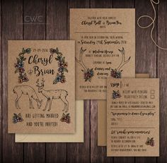 Woodland Wonderland Wedding Invitations from Creative Wedding Company Deerly Beloved... Rustic and enchanting, our illustrated woodland invitations look wonderful on Kraft paper. Colours can be customised to suit your preferences. Perfect for couples getting married in a venue with gorgeous woodland surroundings or those just wanting to add a bit of nature to their invitations!