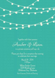 simple wedding invitation suite modern teal by bluefencedesigns - Wedding Reception Only Invitations