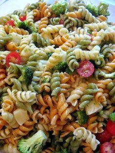 Pasta Salad with Homemade Italian Dressing | Karla M Curry1 box tri-color rotini (or any pasta you prefer) 1 big bunch of broccoli, cut into small pieces 1/2 container grape tomatoes, halved or quartered 1/2 block montery jack cheese, cubed 1 recipe Homemade Italian Dressing (recipe follows)