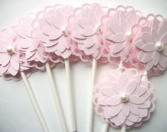 Pink Elephant Cupcake Toppers Baby Shower Cupcake by 2muchpaper