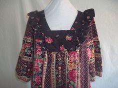 Vintage 1980s Maxi Dress Pink Black Roses Floral  $25.00, #prairie #bohemian #folk
