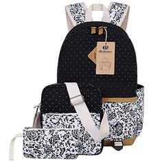 4 Teile Damen Schulrucksack Gro/ße Kapazit/ät Reiserucksack Schultasche Umh/ängetasche Messenger Bags Shopper Tasche Federm/äppchen M/ädchen Schultaschen Set