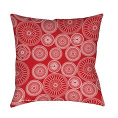 Beautiful art by Denise Urban creates an urban themed design in white on red for this printed pillow.