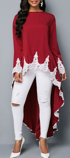 Dip Hem Burgundy Lace Patchwork Shop now!→More discounts for Black Friday and Mode Outfits, Fashion Outfits, Womens Fashion, Style Africain, Trendy Tops For Women, Red Blouses, Mode Inspiration, Mode Style, African Fashion