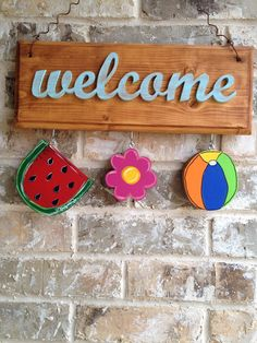 Summer Ornaments for Welcome Sign by twigsandstitches on Etsy, $15.00