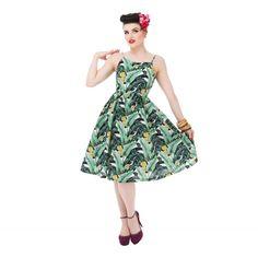 'Marlene' Tropical Banana Leaf Day Dress