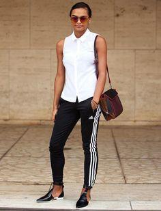 look street style calça preta adidas blusa branca