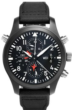 IWC Pilot's Chrono-Automatic IW379901 TOP GUN EDITION Iwc Watches, Cool Watches, Watches For Men, Iwc Pilot Chronograph, Sinn Watch, 3 O Clock, Black Nylons, Automatic Watch, Mens Fashion