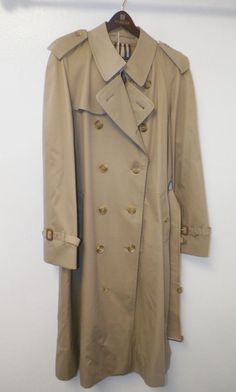 MEN'S BURBERRY KHAKI BEIGHE TRENCH COAT WITH NOVA CHECK LINING SZ 40 LONG UNWORN #BURBERRY #Trench