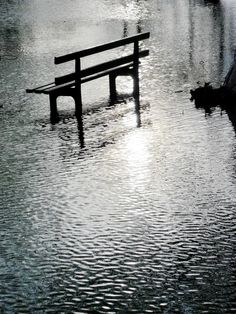 "Bench reflected in flood water, Oak Park, Walsall Wood, West Midlands, England - ""Aldridge, in a Campervan""."