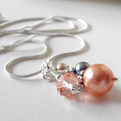 Gray and Peach Bridesmaid Necklaces Pearl and by FiveLittleGems, $17.00