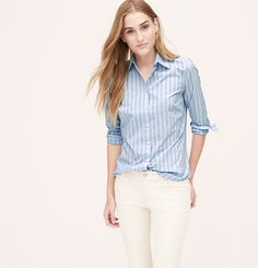 Double Pinstripe Softened Shirt from Loft on Catalog Spree