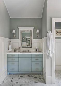 Blue Painted Bath Vanities/light blue vanity/bathroom/gray and white bathroom/gray flooring Blue Bathroom Vanity, Blue Vanity, Small Bathroom Vanities, Grey Bathrooms, Bath Vanities, White Bathroom, Beautiful Bathrooms, Bathroom Storage, Bathroom Ideas