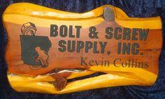 Cedarslabsigns.com 2 foot Commercial Cedar Sign Bolt and Screw Suppply Kevin Collins