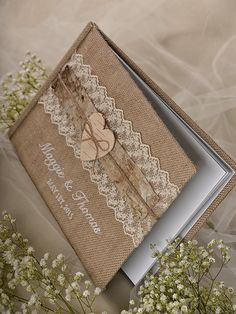 Burlap  Natural Birch Bark Wedding Guest Book by DecorisWedding, $55.00