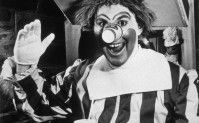"The Original Ronald McDonald, c.1963;""Willard Scott performed regularly as Ronald McDonald from 1963–1966 and occasionally as late as 1971, for a McDonald's franchise in Washington, D.C.. Scott wrote in his book, The Joy of Living, that he originally created the Ronald McDonald character at the fast-food restaurant chain's request. In Morgan Spurlock's documentary film Super Size Me, Eric Schlosser claims that McDonald's replaced Scott on account of his weight, concerned about there image."