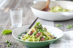Spiralized Zucchini Pesto Pasta with Peas and Pancetta | Danielle Walker's Against all Grain | #paleo #cleaneating #easydinners #dairyfree #glutenfree #grainfree