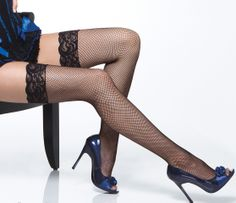 Coquette Fishnet Thigh High Lace Top Stockings £9.75  Quality Fishnet thigh high stockings with a very sexy lace top from Coquette.