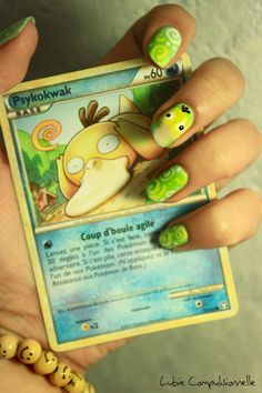 "Psyduck Nail art. I think the important thing here is that ""Psyduck"" in French is Psykokwak."