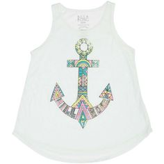 Billabong Unisex Magic Anchor Swing Tank ($8.98) ❤ liked on Polyvore featuring tops, skylight, t-shirt/prints, white singlet, white top, white tank top, beach tanks and anchor tank top